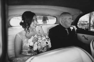 bride waiting in rolls royce
