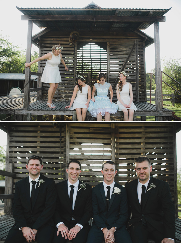 bridal party farm portraits