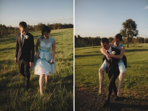 bride groom piggy back