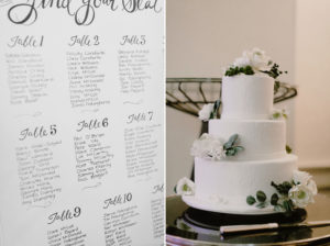 wedding seating plan and cake
