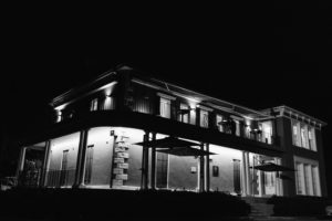 outside dunbar house at night