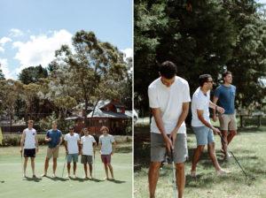 groomsmen playing golf