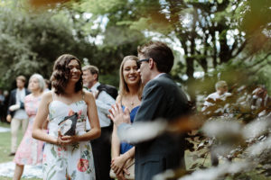 happy blue mountains wedding guests