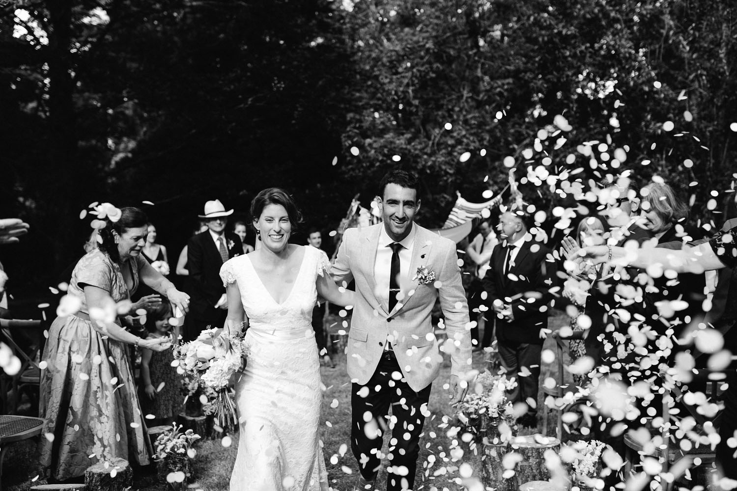 bride groom ceremony exit with confetti