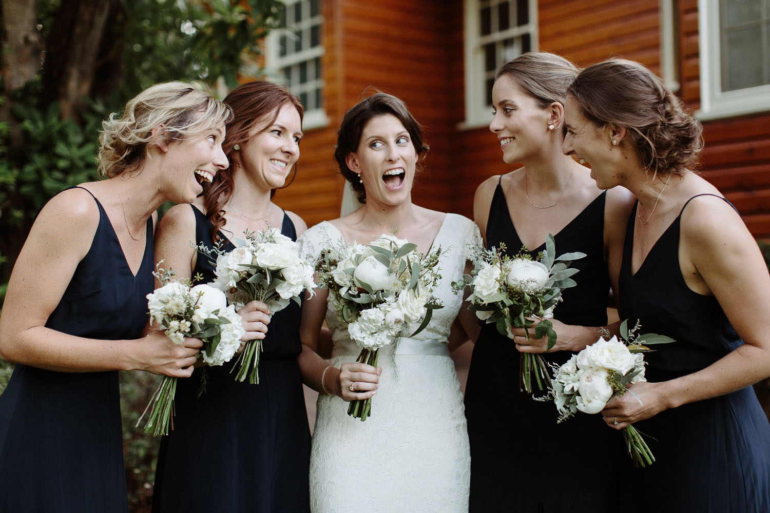 blue mountains wedding bridesmaids laughing