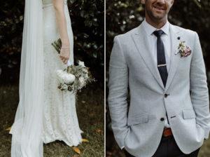 bride flowers groom suit