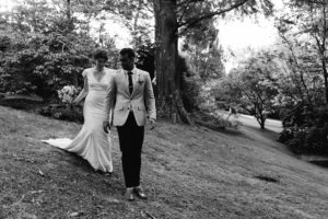 blue mountains bride and groom walking