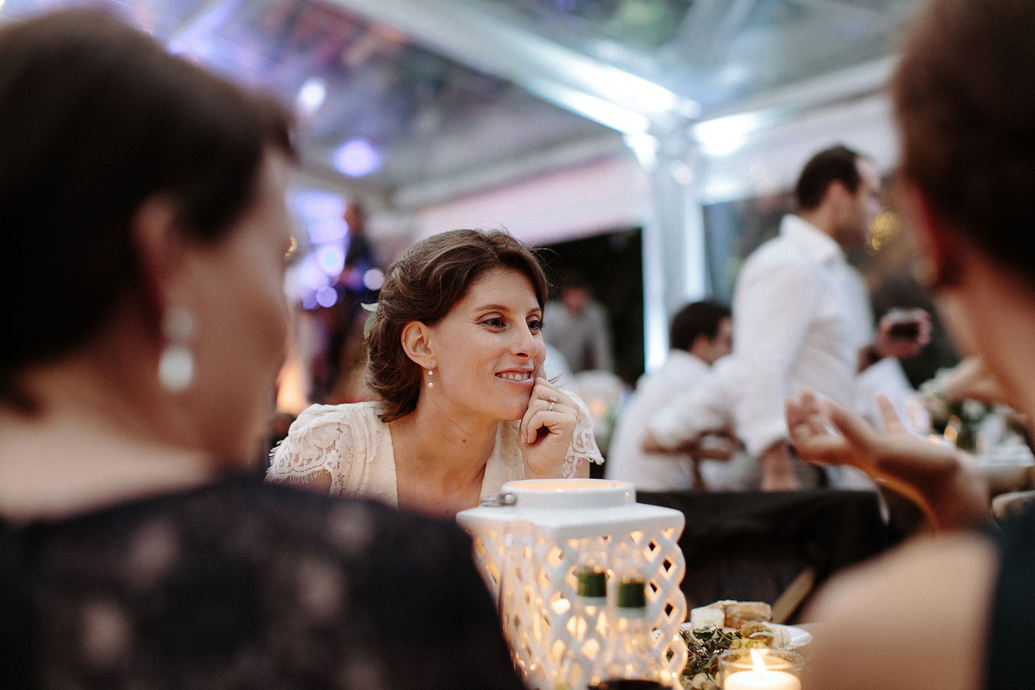 bride mingling with wedding reception guests