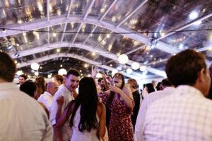 wedding guest singing on dance floor