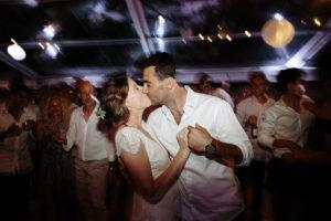 blue mountains wedding bride groom kiss on dancefloor