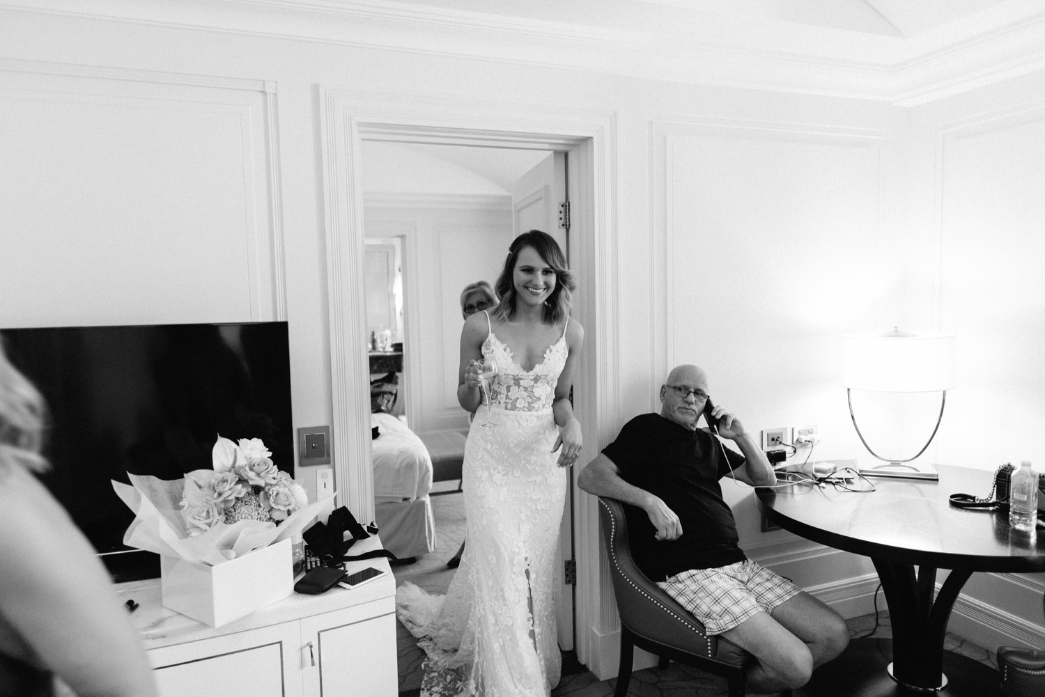 dad seeing bride in her wedding dress for the first time