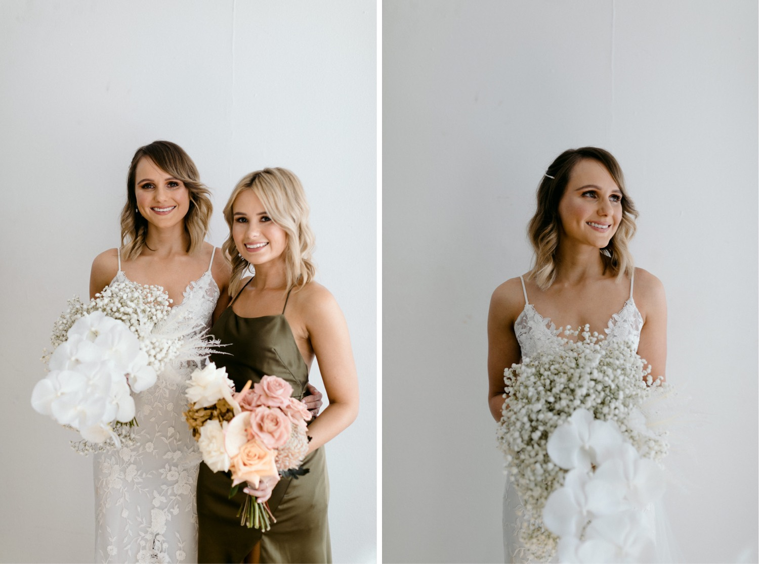 portrait of bride and bridesmaid at la porte space