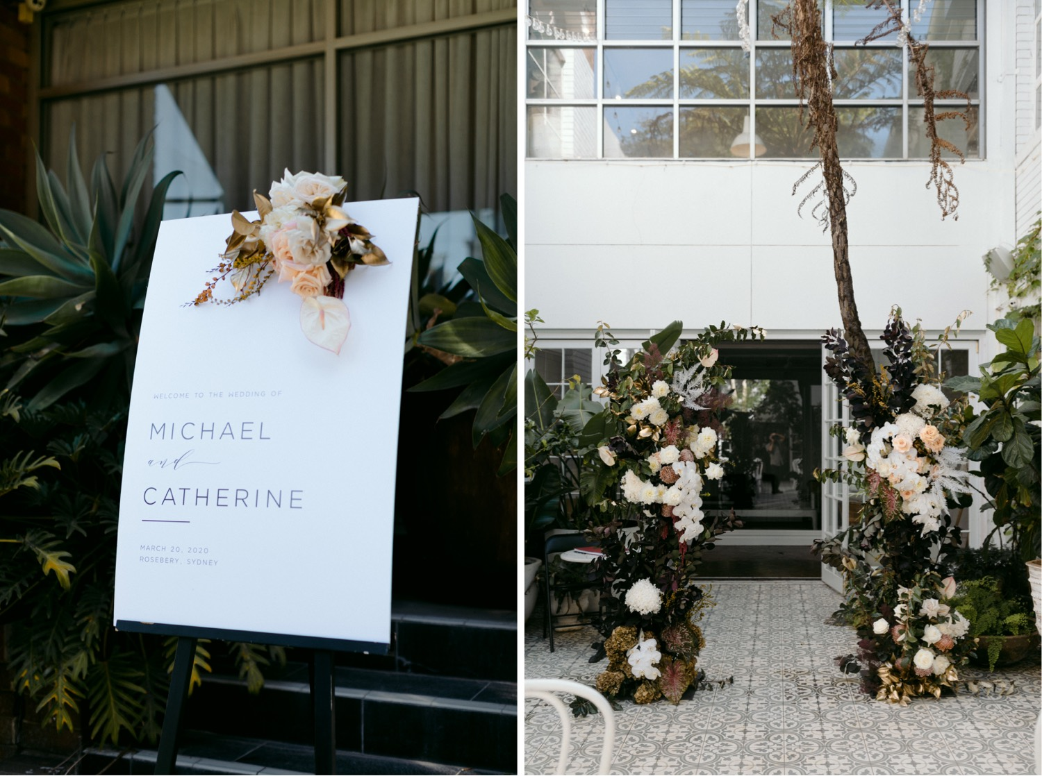 la porte space courtyard with stunning florals