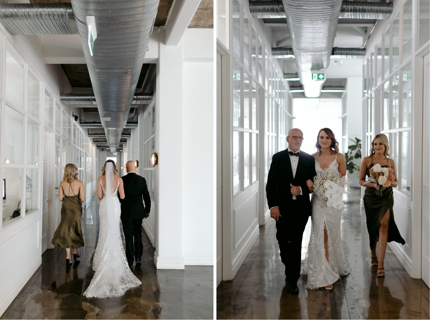 bride and dad in hallway of best creative space in sydney