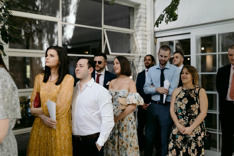 wedding guests at la porte space