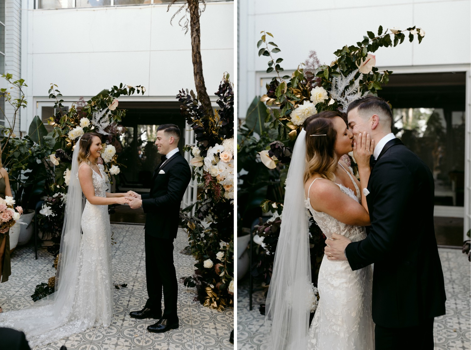 couple sharing their first kiss