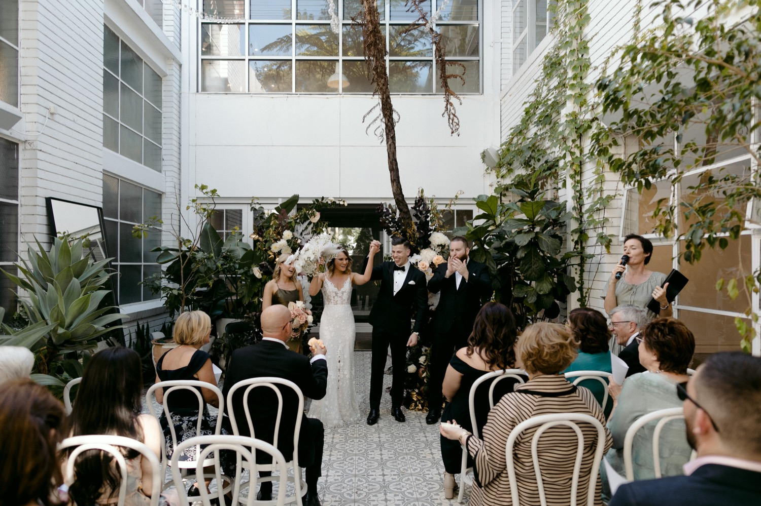 wide shot of wedding ceremony at la pore space
