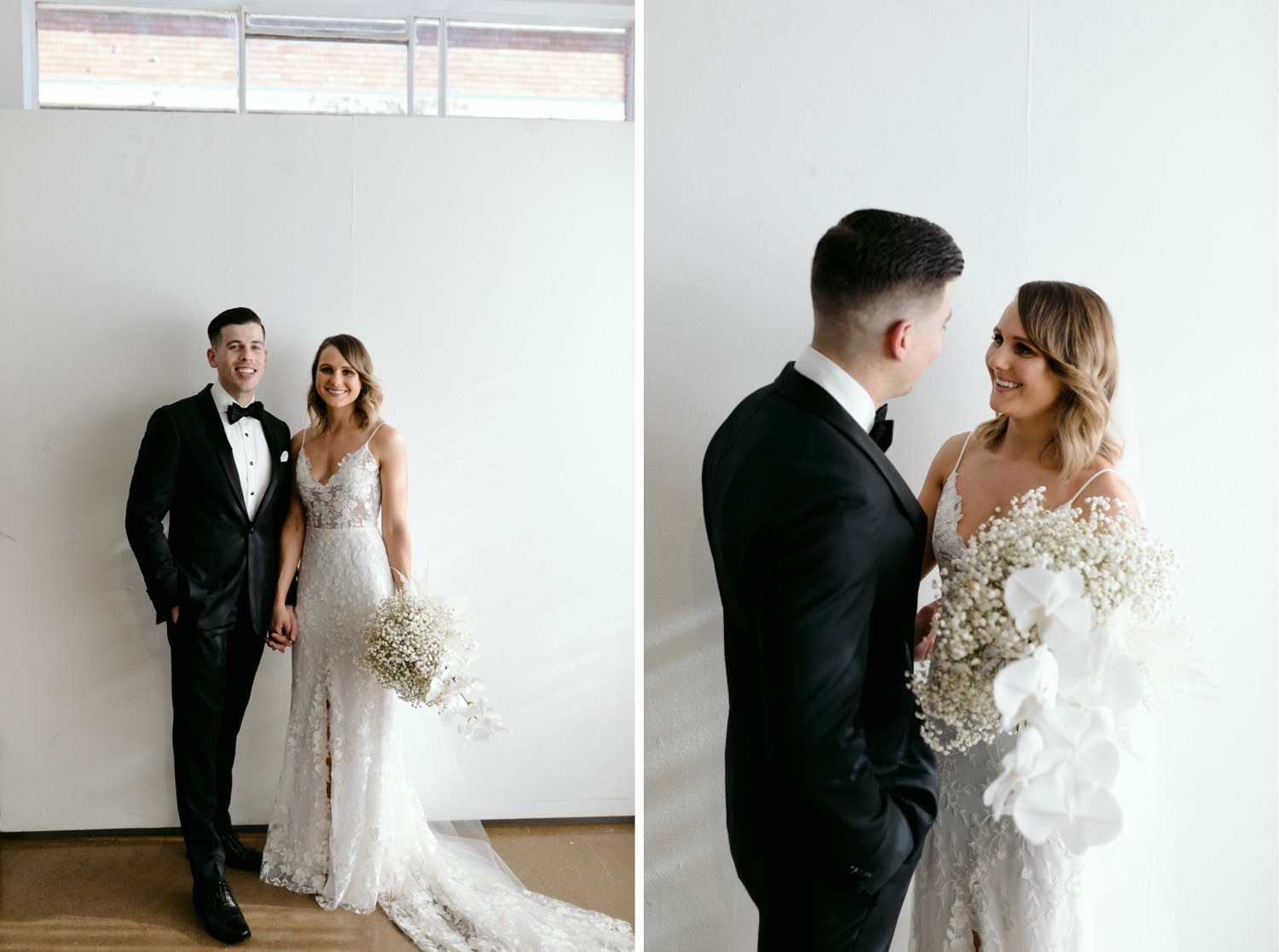 bride and groom looking at camera and then at each other
