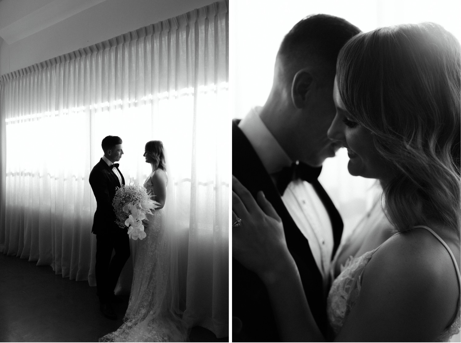 romantic back lit portraits of bride and groom in front of a curtain