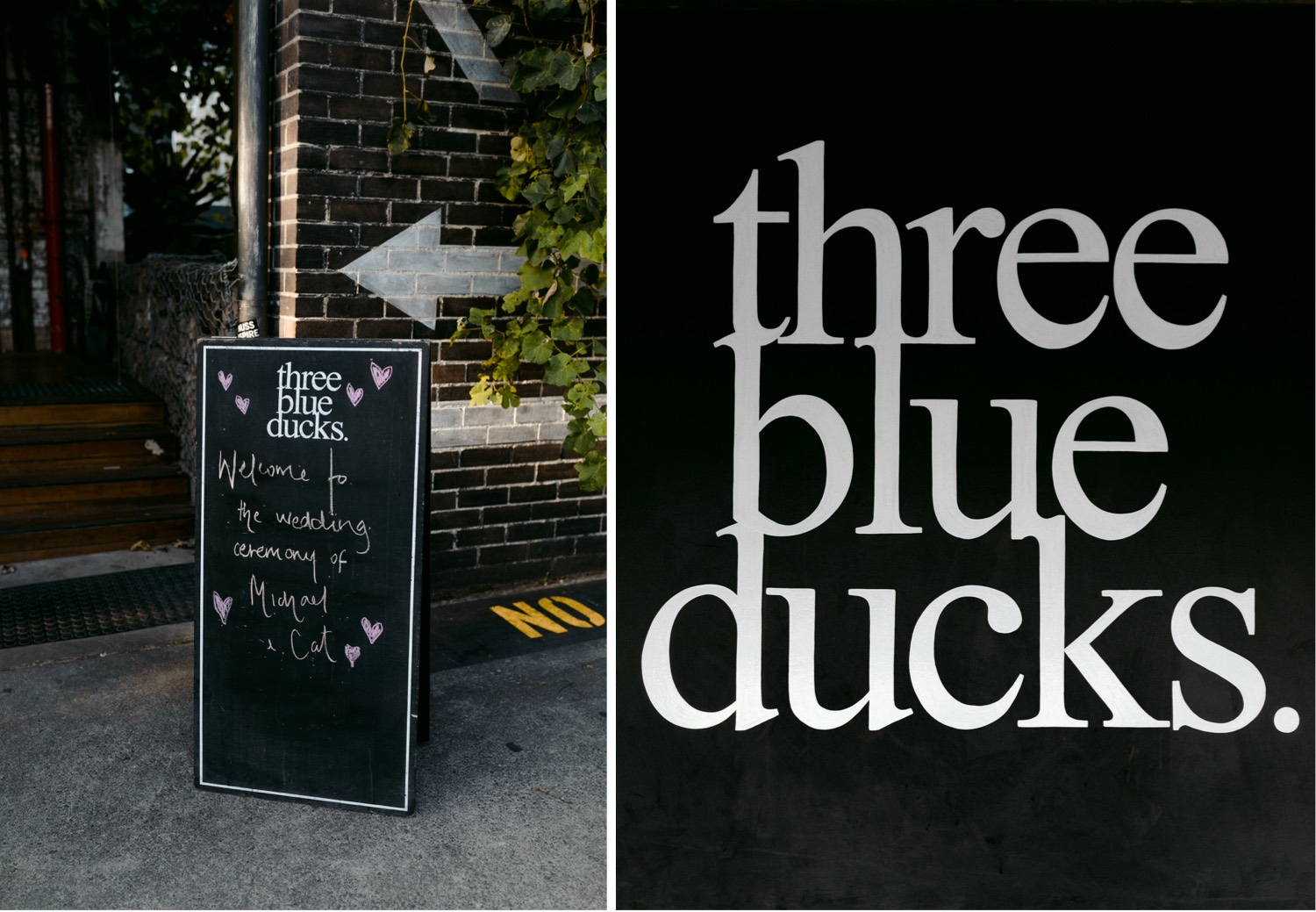 three blue ducks rosebery sign and wedding sign
