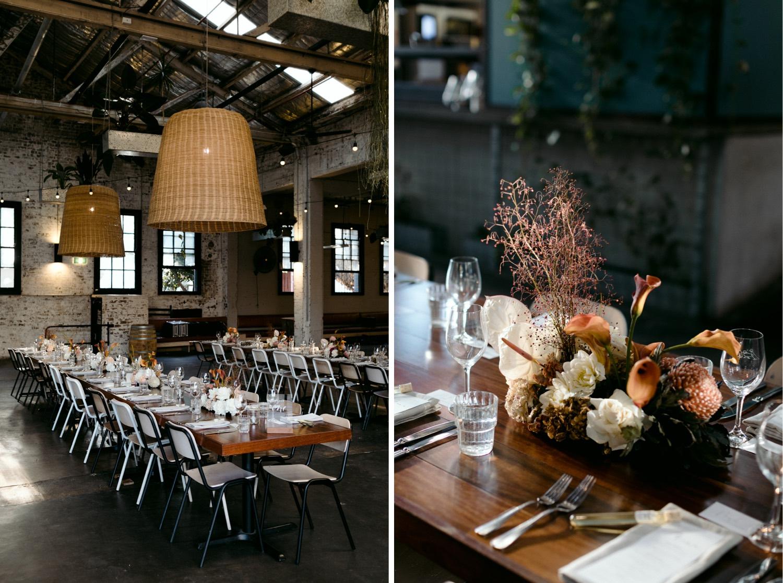 beautiful wedding table set up at three blue ducks rosebery