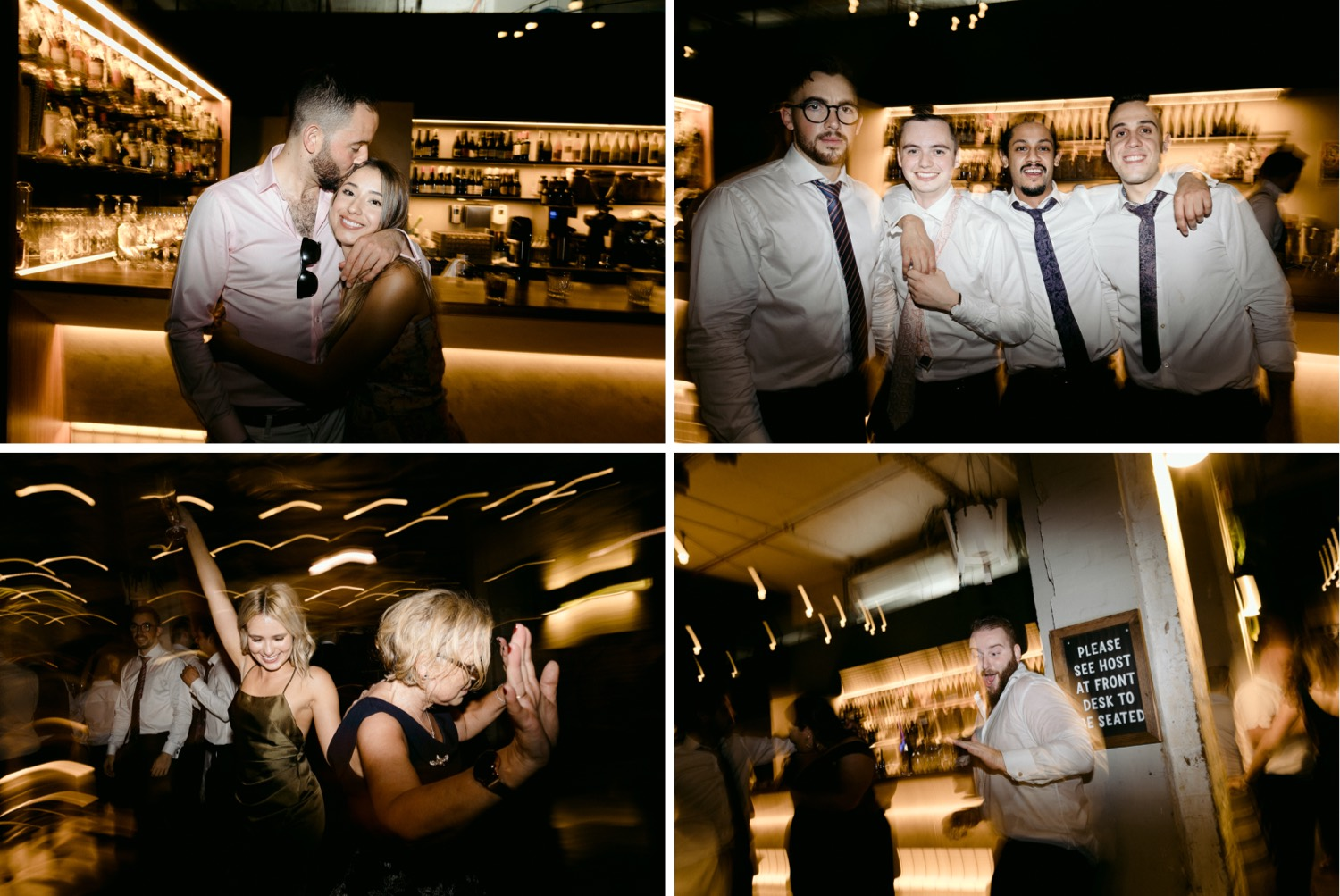 montage of wedding guests dancing