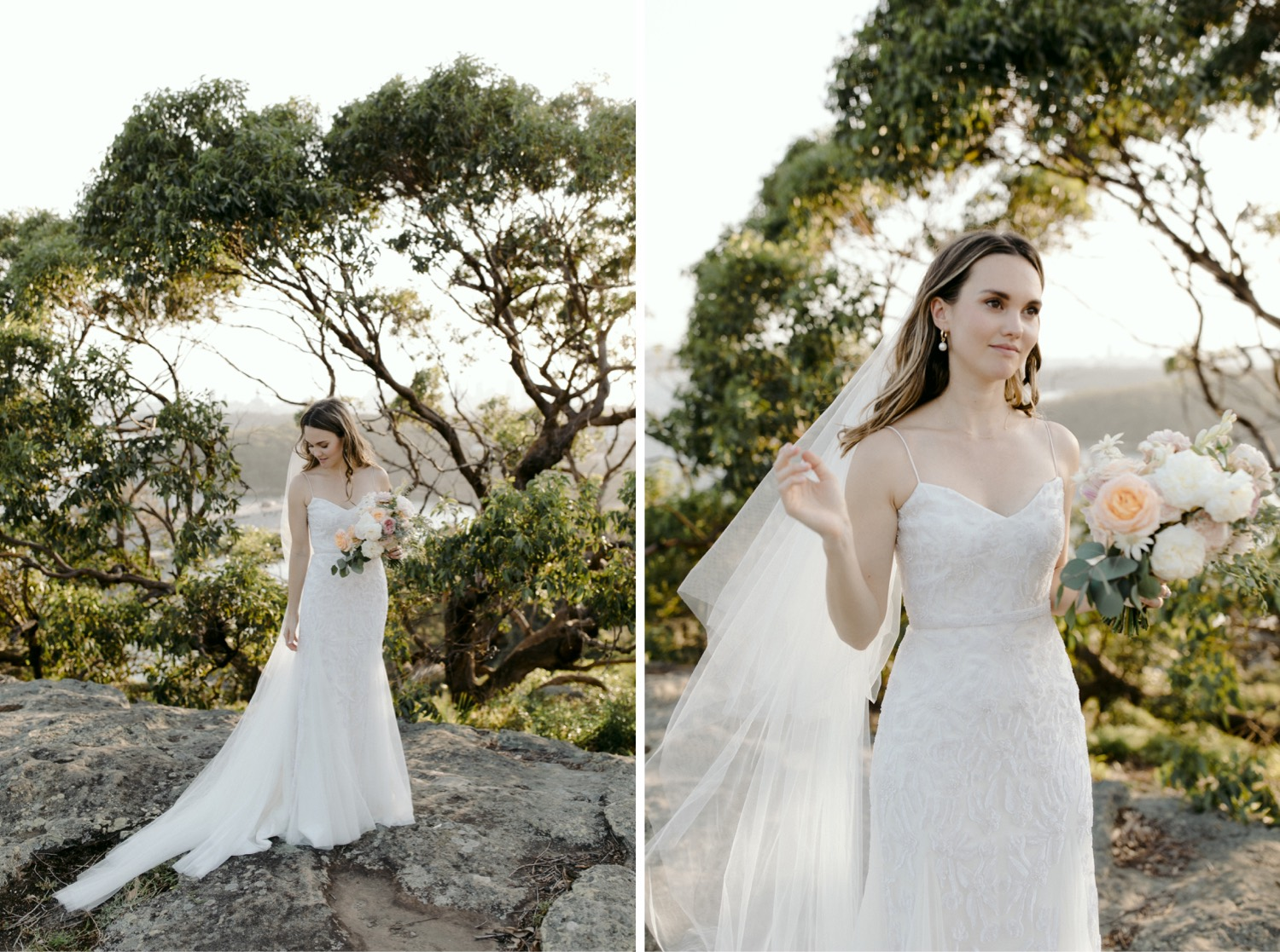 portraits of bride veil blowing in the wind