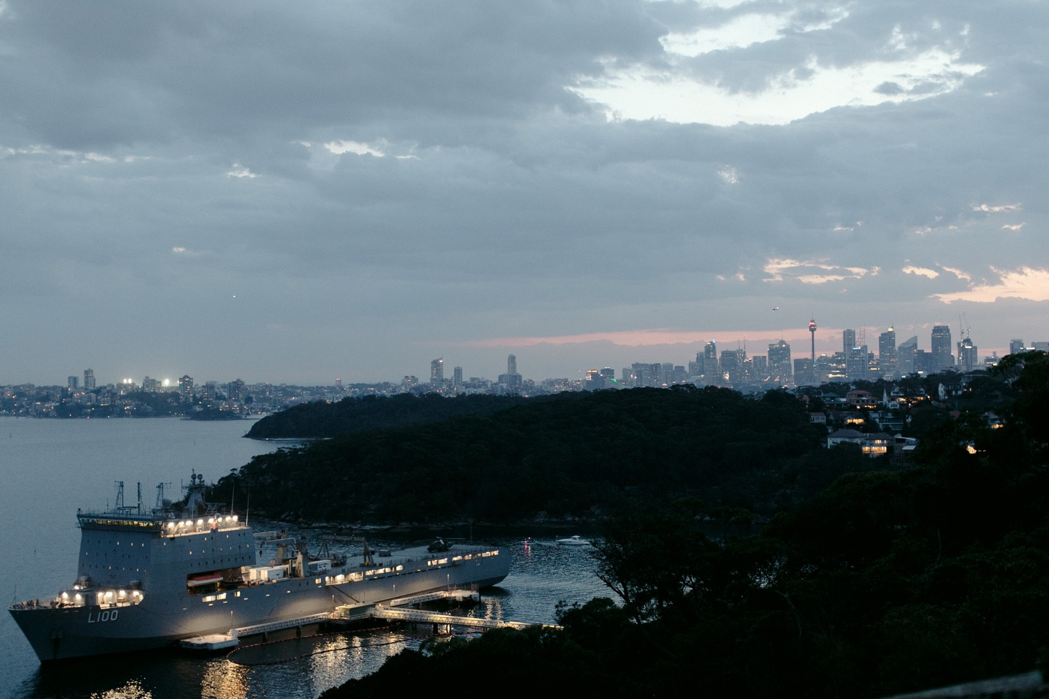 image at dusk looking over sydney harbour from gunners barracks